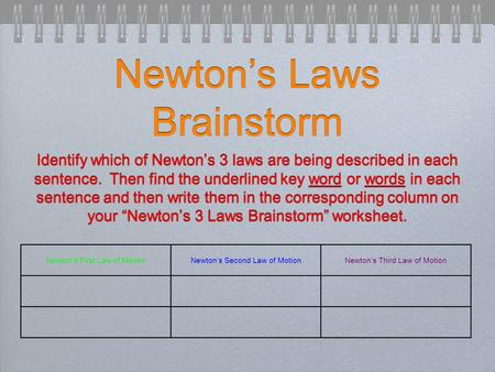 Newton's Laws Brainstorm Identify which of Newton's 3 laws are being described in each sentence. Then find the underlined key word or words in each sentence.