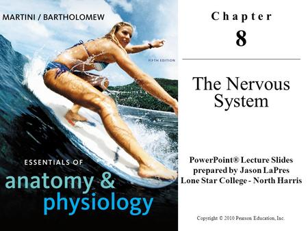 Copyright © 2010 Pearson Education, Inc. C h a p t e r 8 The Nervous System PowerPoint® Lecture Slides prepared by Jason LaPres Lone Star College - North.