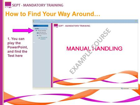 How to Find Your Way Around… SEPT - MANDATORY TRAINING 1. You can play the PowerPoint, and find the Test here EXAMPLE COURSE.