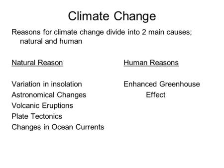 Climate Change Reasons for climate change divide into 2 main causes; natural and human Natural ReasonHuman Reasons Variation in insolationEnhanced Greenhouse.