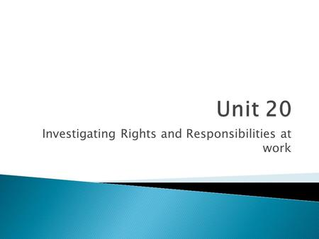 Investigating Rights and Responsibilities at work