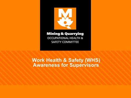 Work Health & Safety (WHS) Awareness for Supervisors.