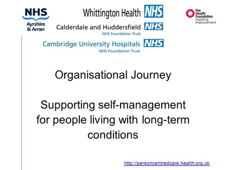 Organisational Journey Supporting self-management for people living with long-term conditions Organisational Journey