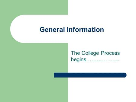 General Information The College Process begins……………….