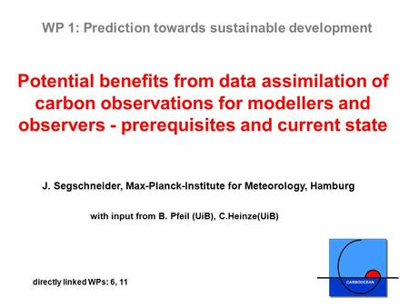Potential benefits from data assimilation of carbon observations for modellers and observers - prerequisites and current state J. Segschneider, Max-Planck-Institute.