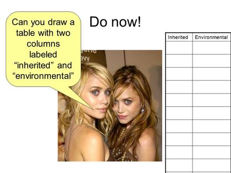 "Do now! Can you draw a table with two columns labeled ""inherited"" and ""environmental"" InheritedEnvironmental."
