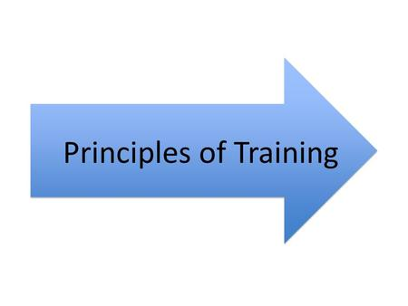 Principles of Training. Principles of training Knowing the principles will help us improve and reach our goals The principles can be explained by remembering.