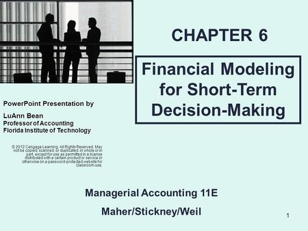 CHAPTER 6 Financial Modeling for Short-Term Decision-Making