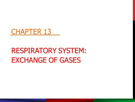 RESPIRATORY SYSTEM: EXCHANGE OF GASES