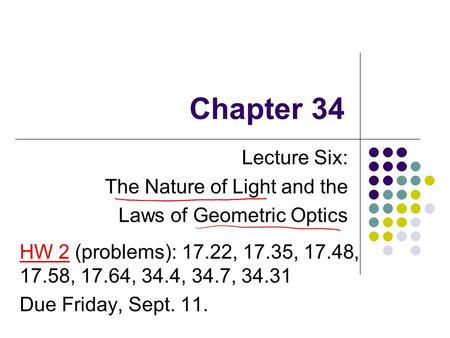 Lecture Six: The Nature of Light and the Laws of Geometric Optics