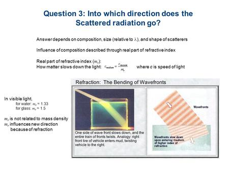Real part of refractive index ( m r ): How matter slows down the light: where c is speed of light Question 3: Into which direction does the Scattered radiation.