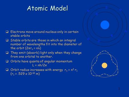 1 Atomic Model  Electrons move around nucleus only in certain stable orbits  Stable orbits are those in which an integral number of wavelengths fit into.