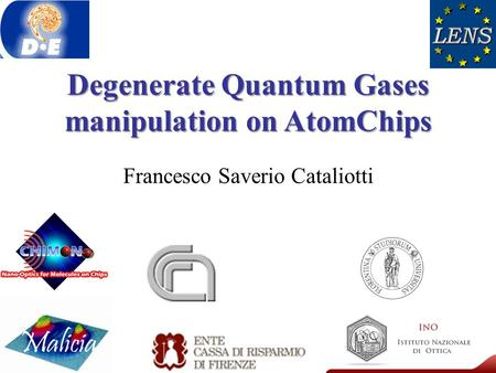 Degenerate Quantum Gases manipulation on AtomChips Francesco Saverio Cataliotti.