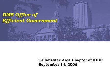 Tallahassee Area Chapter of NIGP September 14, 2006 DMS Office of Efficient Government.