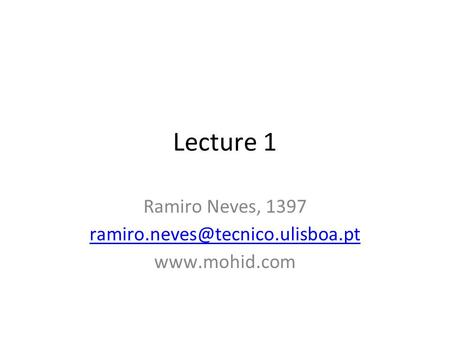 Lecture 1 Ramiro Neves, 1397