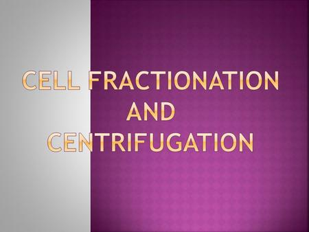 Cell fractionation and centrifugation