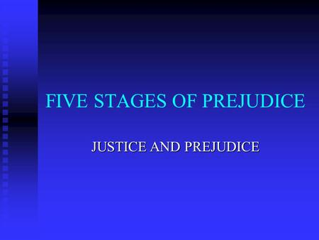"FIVE STAGES OF PREJUDICE JUSTICE AND PREJUDICE. ANTILOCUTION LITERALLY ""SPEAKING AGAINST"": LITERALLY ""SPEAKING AGAINST"": EXPRESSING NEGATIVE FEELINGS."