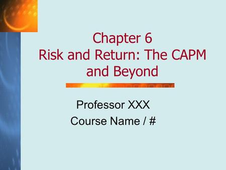 Professor XXX Course Name / #