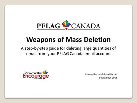 Weapons of Mass Deletion A step-by-step guide for deleting large quantities of email from your PFLAG Canada email account Created by SarahRose Werner September.
