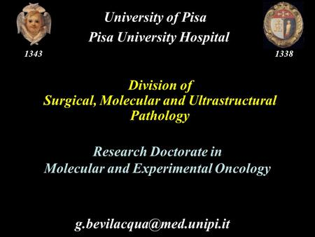 Division of Surgical, Molecular and Ultrastructural Pathology University of Pisa Pisa University Hospital Research Doctorate.