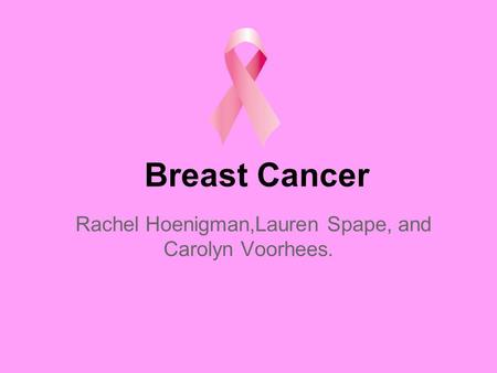 Breast Cancer Rachel Hoenigman,Lauren Spape, and Carolyn Voorhees.