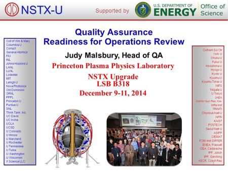Quality Assurance Readiness for Operations Review Judy Malsbury, Head of QA Princeton Plasma Physics Laboratory NSTX Upgrade LSB B318 December 9-11, 2014.