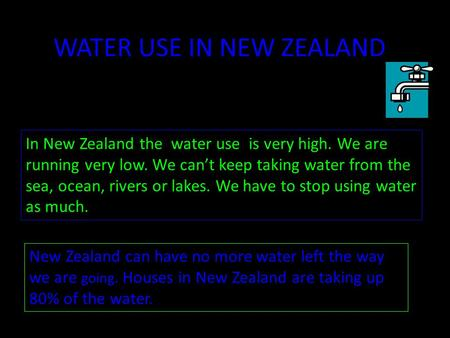 WATER USE IN NEW ZEALAND In New Zealand the water use is very high. We are running very low. We can't keep taking water from the sea, ocean, rivers or.