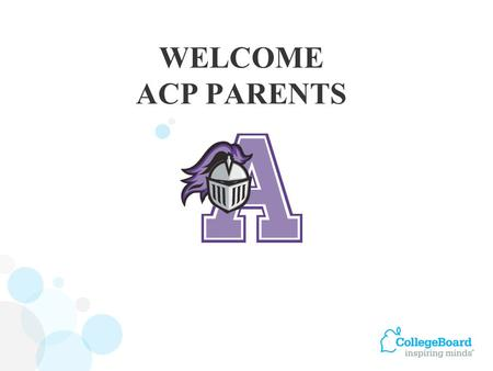 WELCOME ACP PARENTS. Score Report Plus Scores and percentiles Personalized feedback on skills Student answers Next Steps My College QuickStart.