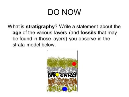 DO NOW What is stratigraphy? Write a statement about the age of the various layers (and fossils that may be found in those layers) you observe in the strata.
