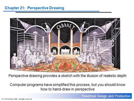 Theatrical Design and Production Chapter 21: Perspective Drawing © 2006 McGraw-Hill. All right reserved. Perspective drawing provides a sketch with the.