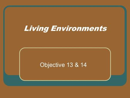 Living Environments Objective 13 & 14. Housing in Your Life Why is housing so important to people? Helps to meet physical, emotional, and social needs.