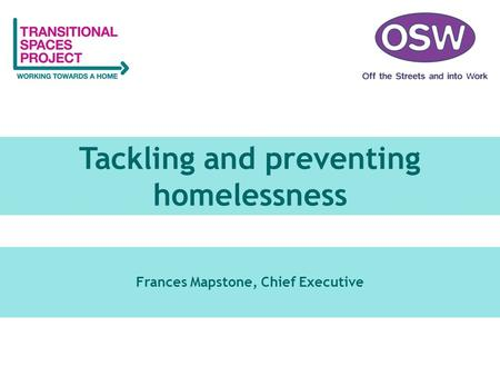 Tackling and preventing homelessness Frances Mapstone, Chief Executive.