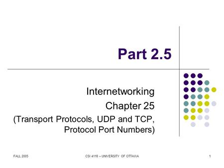 FALL 2005CSI 4118 – UNIVERSITY OF OTTAWA1 Part 2.5 Internetworking Chapter 25 (Transport Protocols, UDP and TCP, Protocol Port Numbers)