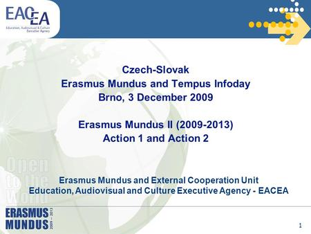 1 Czech-Slovak Erasmus Mundus and Tempus Infoday Brno, 3 December 2009 Erasmus Mundus II (2009-2013) Action 1 and Action 2 Erasmus Mundus and External.