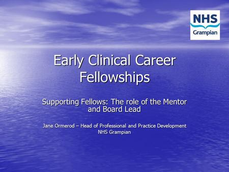 Early Clinical Career Fellowships Supporting Fellows: The role of the Mentor and Board Lead Jane Ormerod – Head of Professional and Practice Development.