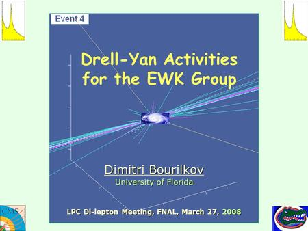 Drell-Yan Activities for the EWK Group Dimitri Bourilkov University of Florida LPC Di-lepton Meeting, FNAL, March 27, 2008.