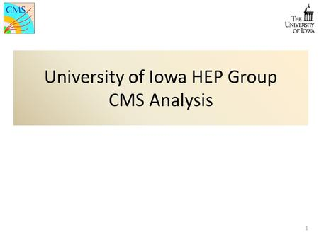 University of Iowa HEP Group CMS Analysis 1. 2 Outline As University of Iowa HEP group, we are involved with several different physics analysis. Electroweak.