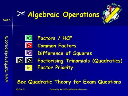 Nat 5 Algebraic Operations 16-Oct-15Created by Mr. Difference of Squares Factors / HCF Common Factors.