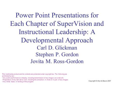Chapter 12 Developmental Supervision: Theory and Practice