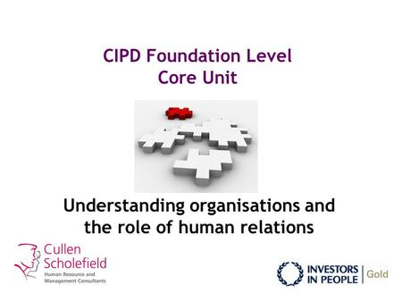 CIPD Foundation Level Core Unit Understanding organisations and the role of human relations.