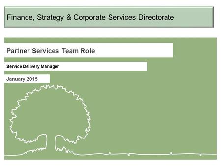 Partner Services Team Role January 2015 Service Delivery Manager Finance, Strategy & Corporate Services Directorate.