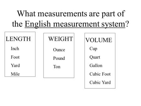 What measurements are part of the English measurement system? Inch Foot Yard Mile Ounce Pound Ton Cup Quart Gallon Cubic Foot Cubic Yard LENGTHWEIGHT VOLUME.