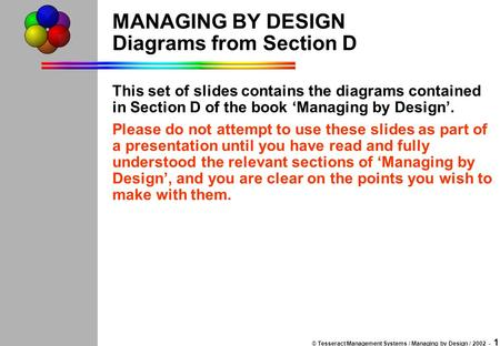 © Tesseract Management Systems / Managing by Design / 2002 - 1 MANAGING BY DESIGN Diagrams from Section D This set of slides contains the diagrams contained.