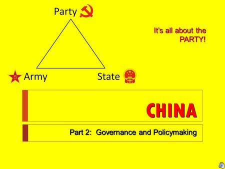 CHINA Part 2: Governance and Policymaking It's all about the PARTY!