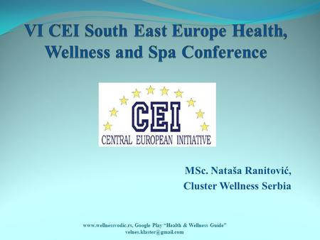 "MSc. Nataša Ranitović, Cluster Wellness Serbia  Google Play ""Health & Wellness Guide"""