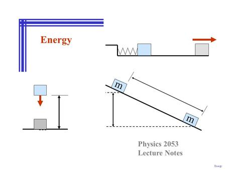 Energy m m m Physics 2053 Lecture Notes. Energy 5-01 Work 5-02 Kinetic Energy & the Work Energy Theorem 5-03 Gravitational Potential Energy 5-04 Spring.