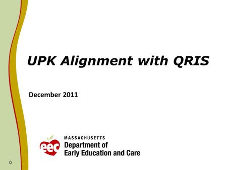 0 UPK Alignment with QRIS December 2011. Outline of Presentation 1. Review of UPK policy objectives implemented in FY11/FY12 to begin/continue alignment.