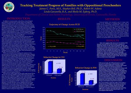 Tracking Treatment Progress of Families with Oppositional Preschoolers Jaimee C. Perez, M.S., Stephen Bell, Ph.D., Robert W. Adams Linda Garzarella, B.A.,