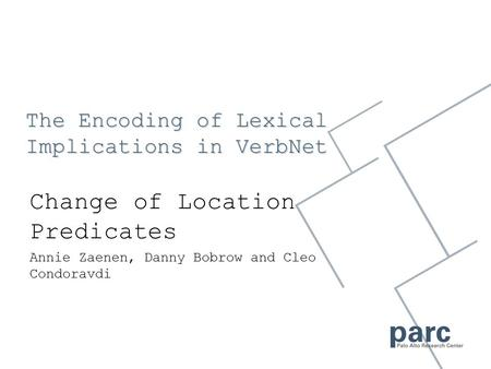 The Encoding of Lexical Implications in VerbNet Change of Location Predicates Annie Zaenen, Danny Bobrow and Cleo Condoravdi.