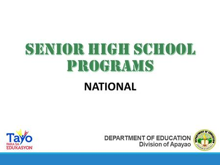 DEPARTMENT OF EDUCATION Division of Apayao NATIONAL.